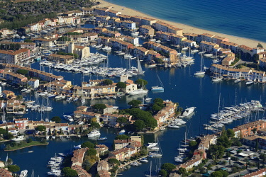 HMS2232330 France, Var, Gulf of St Tropez, Port Grimaud seaside town (aerial view)