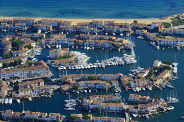HMS2258806 France, Var, Gulf of St Tropez, Port Grimaud seaside town (aerial view)