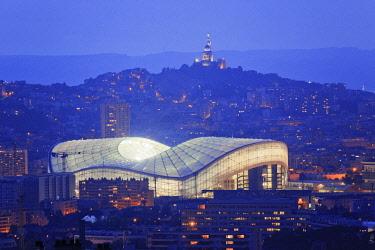 HMS2353742 France, Bouches du Rhone , Marseille, the Velodrome stadium and the Notre Dame de La Garde background