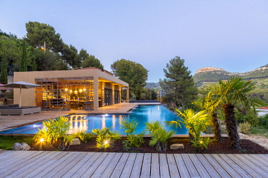 HMS2902733 France, Bouches du Rhone, Cassis, contemporary house, subtle blend of wood and stone