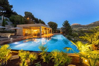 HMS2902787 France, Bouches du Rhone, Cassis, contemporary house, subtle blend of wood and stone