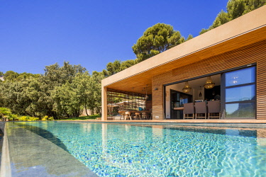 HMS2902801 France, Bouches du Rhone, Cassis, contemporary house, subtle blend of wood and stone