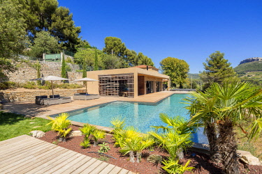 HMS2902819 France, Bouches du Rhone, Cassis, contemporary house, subtle blend of wood and stone