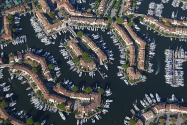 HMS3093621 France, Var, Gulf of Saint Tropez, marina of the lake city of Port Grimaud (aerial view)