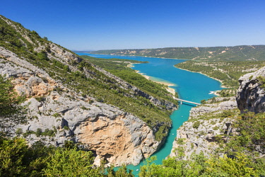 HMS2689561 France, Var on the Left Bank and Alpes de Haute Provence on the Right Bank, Parc Naturel Regional du Verdon (Natural Regional Park of Verdon), Sainte Croix lake, entrance of the Gorges du Verdon