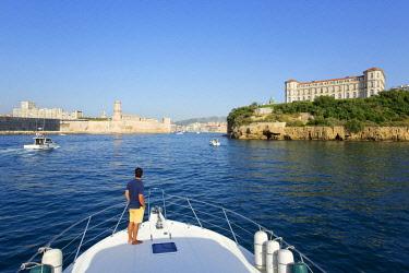 HMS2478504 France, Bouches du Rhone, Marseille, Fort St. John (17th) Historic Monument and Palais du Pharo