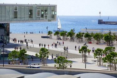 HMS2478546 France, Bouches du Rhone, Marseille, Euromediterranee area, Esplanade J4, The Mediterranean Villa, architect Stefano Boeri