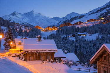 HMS2434651 France, Savoie, Tarentaise valley, hamlet of La Rosiere, Meribel Mottaret is one of the largest skiresort village in France, in the heart of Les Trois Vallees (The Three Valleys), one of the biggest s...