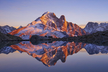 HMS2506915 France, Haute-Savoie (74), aiguille Verte (4122m) at sunrise from lac Blanc, Mont-Blanc range