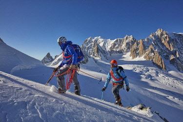 HMS2506950 France, Haute-Savoie, Chamonix, alpinists on the ridge of the Petit Flambeau (3440 m) , Mont-Blanc range