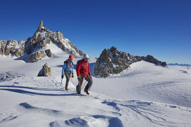 HMS2506952 France, Haute-Savoie, Chamonix, alpinists on the ridge of the Petit Flambeau (3440 m) , Mont-Blanc range