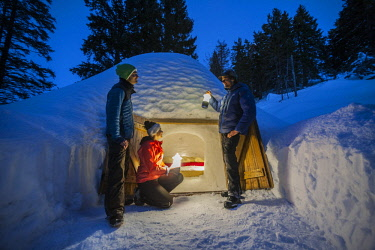 HMS2879315 France, Haute-Savoie, Semnoz, Alpes Bivouac, Julien Perillat and his team amuse themselves around the igloos of his ecobivouac