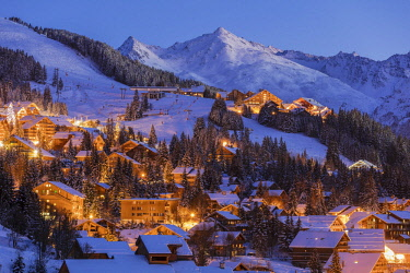 HMS2894089 France, Savoie, Tarentaise valley, Meribel is one of the largest skiresort village in France, in the heart of Les Trois Vallees (The Three Valleys), one of the biggest ski areas in the world with 600k...