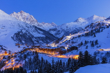 HMS2894103 France, Savoie, Tarentaise valley, Meribel Mottaret is one of the largest skiresort village in France, in the heart of Les Trois Vallees (The Three Valleys), one of the biggest ski areas in the world...