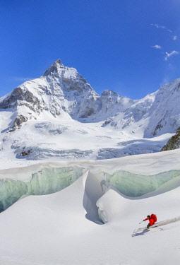 CLKGM45315 Skier in Matterhorn Tiefnatten glacier. Zermatt, Switzerland, Europe