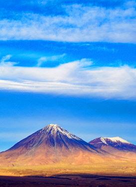 CHI10876AW View over Atacama Desert towards the Volcano Licancabur, San Pedro de Atacama, Antofagasta Region, Chile