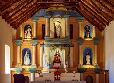 CHI10926AW Church in San Pedro de Atacama, interior, Antofagasta Region, Chile