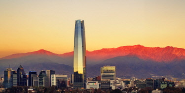 CHI10968AW Providencia with Gran Torre Santiago seen from the Metropolitan Park, sunset, Santiago, Chile