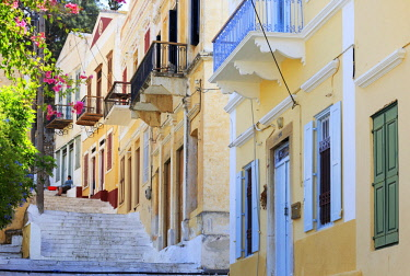 Greece, Symi, Chorio. Elegant neo-classical houses beside the Kali Strata steps which link Yialos and Chorio.