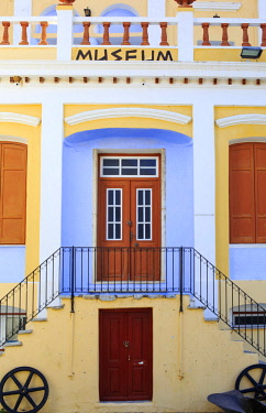 GRE1587AW Greece, Symi, Yialos. The facade of the Nautical Museum, a fine neo-classical building.