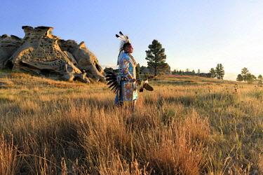 USA12937AW North America, USA, Great Plains, Montana, Medicine Rocks, State Park, Robert Yellowhawk, Lakota, MR 0596