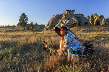 USA12938AW North America, USA, Great Plains, Montana, Medicine Rocks, State Park, Robert Yellowhawk, Lakota, MR 0596