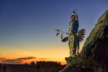USA12939AW North America, USA, Great Plains, Montana, Medicine Rocks, State Park, Robert Yellowhawk, Lakota, MR 0596