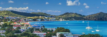 FW01049 French West Indies, St-Martin, Grand Case, Gourmet Capital of the Caribbean, elevated town view, morning