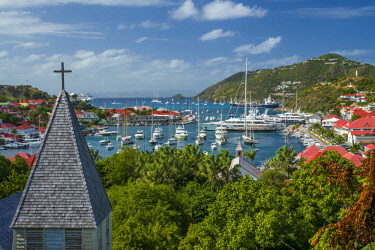 French West Indies, St-Barthelemy, Gustavia, Anglican Church, and elevated view towards Gustavia Harbor