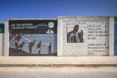 VG01186 British Virgin Islands, Virgin Gorda, Spanish Town, wall mural, slavery and Dr. Martin Luther King