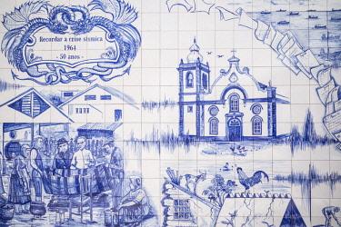 PT07166 Portugal, Azores, Sao Jorge Island, Velas, Largo Dr. Joao Pereira square azulejo tile