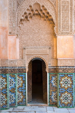 MOR2367AW Morocco, Marrakech-Safi (Marrakesh-Tensift-El Haouz) region, Marrakesh. Ben Youssef Madrasa, 16th century Islamic college.