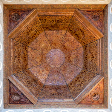 MOR2368AW Morocco, Marrakech-Safi (Marrakesh-Tensift-El Haouz) region, Marrakesh. Carved wooden ceiling panels of Ben Youssef Madrasa, 16th century Islamic college.