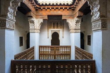 MOR2372AW Morocco, Marrakech-Safi (Marrakesh-Tensift-El Haouz) region, Marrakesh. Interior of Ben Youssef Madrasa, 16th century Islamic college.