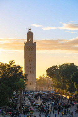 MOR2384AW Morocco, Marrakech-Safi (Marrakesh-Tensift-El Haouz) region, Marrakesh. 12th century minaret of Koutoubia Mosque at sunset, from Jmaa El-Fna square.