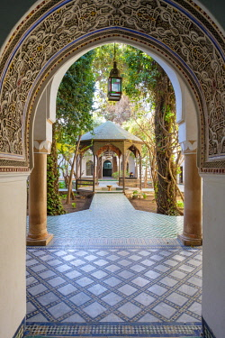 MOR2402AW Morocco, Marrakech-Safi (Marrakesh-Tensift-El Haouz) region, Marrakesh.  Interior courtyard at Musee Dar Si Said museum.