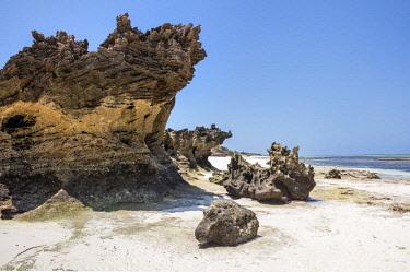 KEN10392 Kenya, Watamu, Kilifi County. Old coral outcrops on Watamu Beach at low tide.