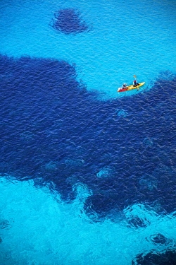 People canoeing near Cala Mitjana, Menorca; Balearic Islands; Spain; Europe