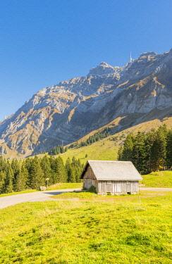 SWI8066AWRF Schwägalp pass, Switzerland. Mountain hut in front of mount Säntis.
