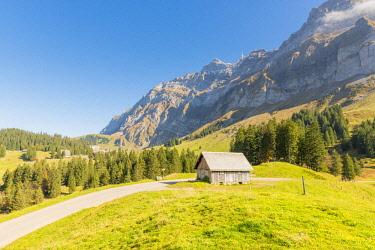 SWI8067AWRF Schwägalp pass, Switzerland. Mountain hut in front of mount Säntis.