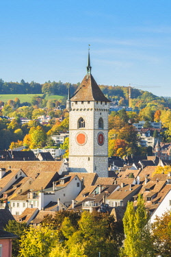 SWI8075AWRF St. Johann church and city roofs, Schaffhausen, Switzerland.
