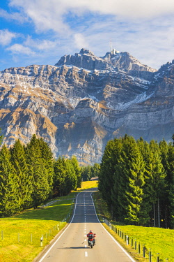 SWI8022AW The road leading to Schwägalp pass with mount Säntis in the background, Switzerland.