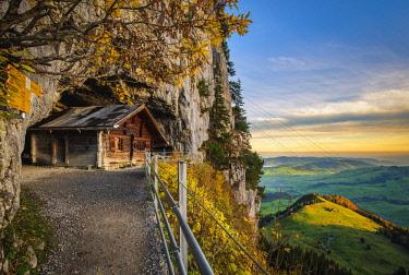 SWI8032AW Hermitage at Wildkirchli (Wild Chapel), Ebenalp, Appenzell Innerrhoden, Switzerland.