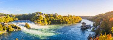 SWI8053AW Rhine Falls (Rheinfall) and Laufen Castle, Schaffhausen, Switzerland.