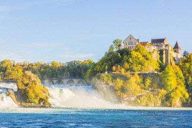 SWI8054AW Rhine Falls (Rheinfall) and Laufen Castle, Schaffhausen, Switzerland.