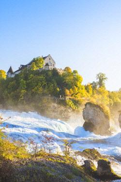 SWI8057AW Rhine Falls (Rheinfall) and Laufen Castle, Schaffhausen, Switzerland.
