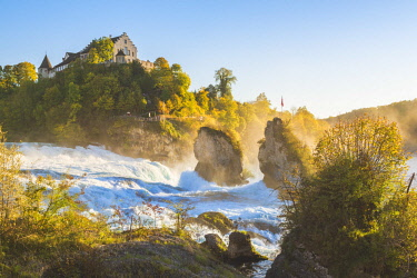 SWI8059AW Rhine Falls (Rheinfall) and Laufen Castle, Schaffhausen, Switzerland.