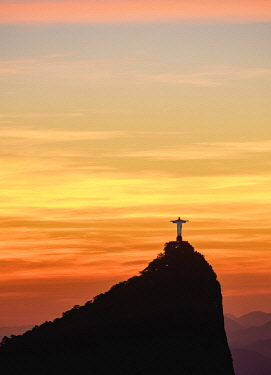 BRA3504AW Christ the Redeemer and Corcovado Mountain at sunrise, Rio de Janeiro, Brazil