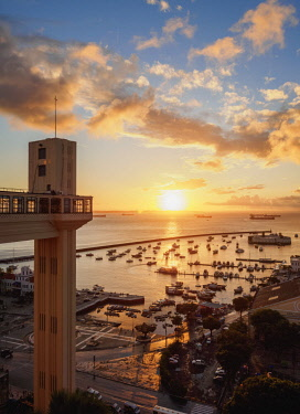 Lacerda Elevator at sunset, Salvador, State of Bahia, Brazil