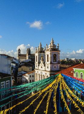 BRA3534AW Sao Joao Festival Decorations on Largo do Pelourinho, elevated view, Salvador, State of Bahia, Brazil